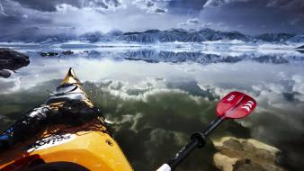 California mono lake clouds ice kayak wallpaper