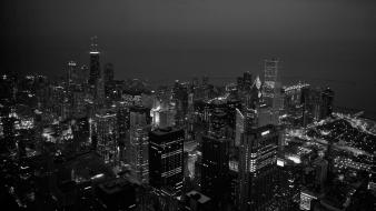 Chicago black and white cities wallpaper