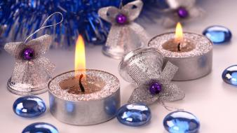 Christmas decorations bells candles gems glitter wallpaper