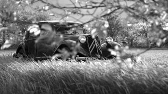 Citroën artistic black and white classic cars machine wallpaper