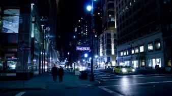 City lights night streets traffic urban Wallpaper