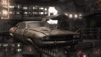 Dodge challenger artwork cityscapes flying futuristic wallpaper