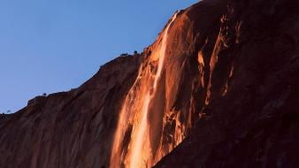 Fire fall yosemite national park sam falls wallpaper