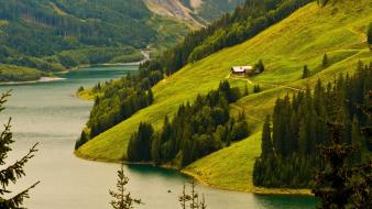 Fjord forests mountains nature rivers wallpaper
