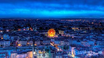 France lyon cityscapes lights night wallpaper