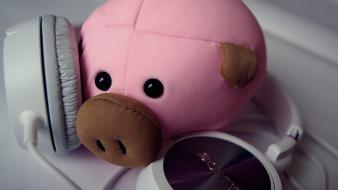 Headphones music pigs wallpaper