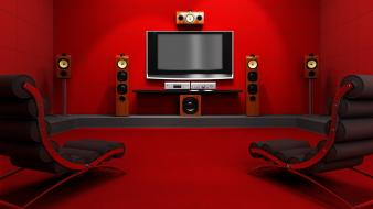 Home cinema movies red room wallpaper