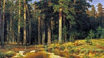 Ivan shishkin forests nature paintings trees wallpaper