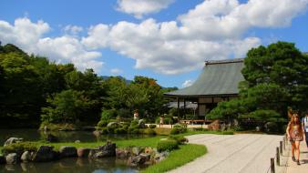 Japanese gardens blue skies ponds wallpaper