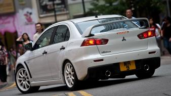 Japanese mitsubishi lancer evolution x cars vehicles white wallpaper