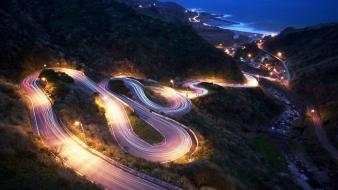 Lights long exposure night roads wallpaper