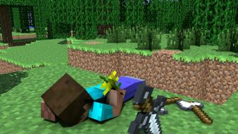 Minecraft steve cinema 4d flowers tapeta Wallpaper
