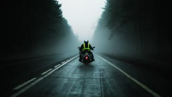 Mist monochrome motorbikes roads sports wallpaper