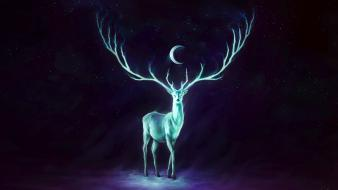 Moon artwork deer fantasy art glowing wallpaper