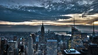 New york city buildings cities clouds lights wallpaper