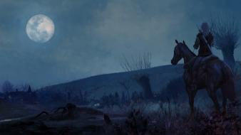 Rivia moon the witcher horseback riding horses wallpaper