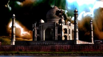Taj mahal abstract artwork destroyed photo manipulation wallpaper