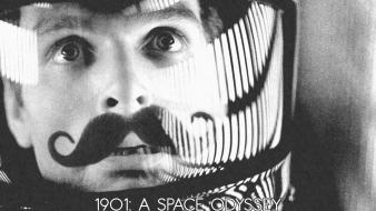 2001 a space odyssey astronauts monochrome moustache outer wallpaper