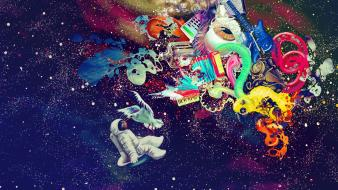 Abstract astronauts freedom wallpaper