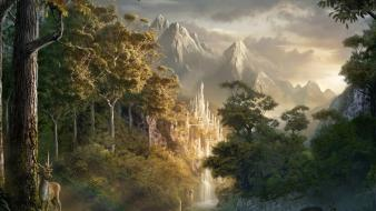 Abstract castle fantasy art forests mountains wallpaper