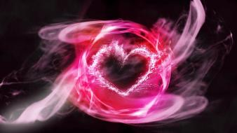 Abstract hearts pink smoke swirls wallpaper