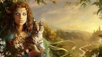 Animals artwork cats fantasy art flowers Wallpaper