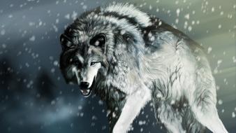 Animals artwork mammals snow wolves Wallpaper