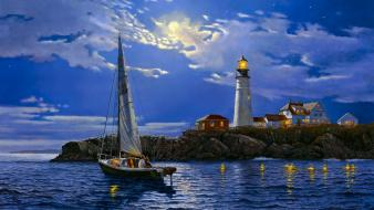 Artwork clouds lighthouses moonlight sea wallpaper