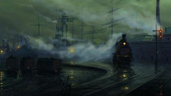 Artwork industrial plants trains urban wallpaper