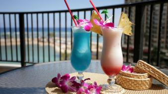 Beaches cocktail drinks vacation wallpaper