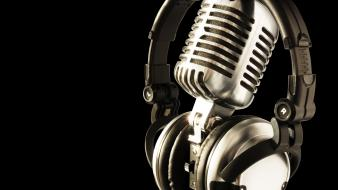 Black background headphones microphones music studio wallpaper