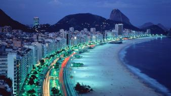 Brazil copacabana beaches lights mountains Wallpaper