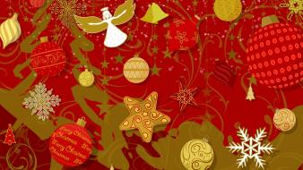 Christmas angels decorations red stars wallpaper