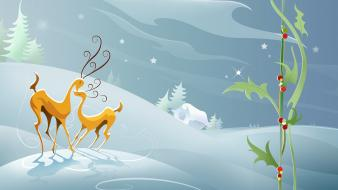 Christmas animals artwork digital art reindeer Wallpaper