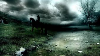 Clouds dark horses men nature wallpaper