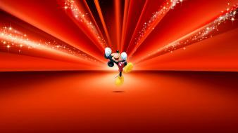 Disney company mickey mouse walt cartoons red background wallpaper