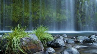 Green landscapes nature rivers waterfalls Wallpaper