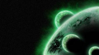 Green outer space planets stars wallpaper