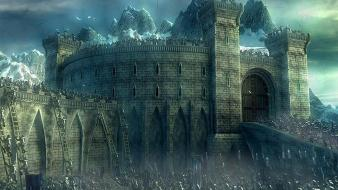 Helms deep artwork battles castles fantasy art Wallpaper