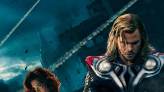 Hemsworth mjolnir scarlett johansson the avengers movie wallpaper