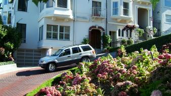 Lombard street san francisco cars cityscapes flowers Wallpaper