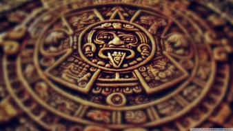 Mayan aztec calendar stone old wallpaper