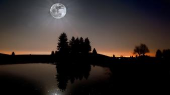 Moon forests landscapes moonlight wallpaper