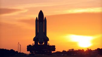 Space shuttle discovery rocket sunset wallpaper