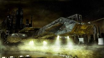 Stargate fantasy art spaceships vehicles wallpaper