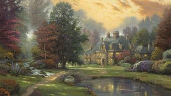 Thomas kinkade artwork bridges houses nature wallpaper
