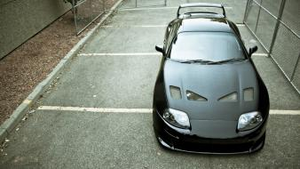 Toyota supra black cars parking lot tuning wallpaper
