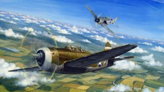 Airplanes bomber p-47 thunderbolt fw-190 escort wallpaper
