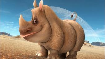 Animals funny smiling rhinoceros zoo wallpaper