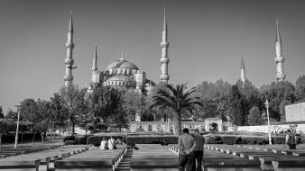 Black and white turkey istanbul mosque wallpaper